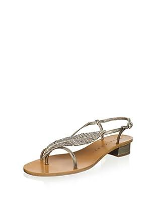 Lola Cruz Women's Feather Flat Sandal (Platino)