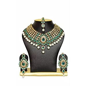 Mirraw Kundan Jewellery Necklace set - Sea Green