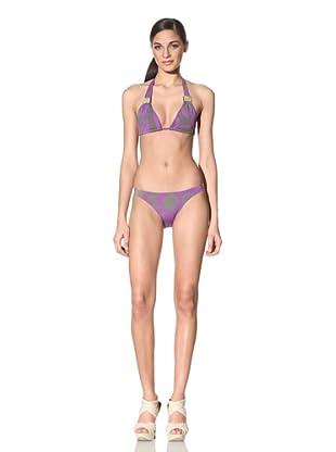 Anika Brazil Women's Printed Bikini Top & Bottoms with Jadestone Sliders (Violet/Brown)