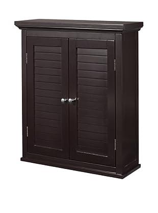 Elegant Home Fashions Slone Double Shutter Door Wall Cabinet, Dark Espresso