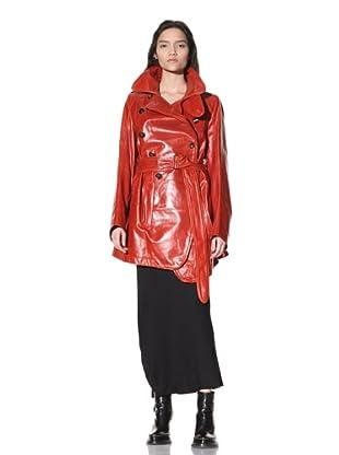 Ann Demeulemeester Women's Long Leather Coat (Fire)