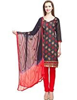 DivyaEmporio Cotton Silk Women's Salwar Suit Dress Material (DE-018_ Black)