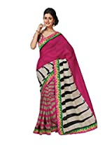 Pink Color Art Bhagalpur Silk Saree with Blouse 11301