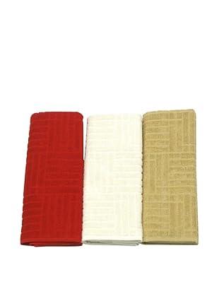 Carlos Luna Pack 3 Paños Mimbre (Rojo / Blanco  / Beige)