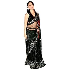 Kareena Kapoor Bollywood Replica Black & Silver Saree