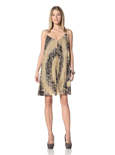 Halston Heritage Women's Pleated Fly-Away Dress with Tie Straps (Black Starburst Print)