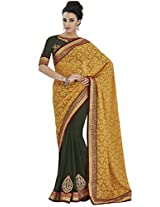 Indian Women Divine Jacquard Yellow Saree with Blouse