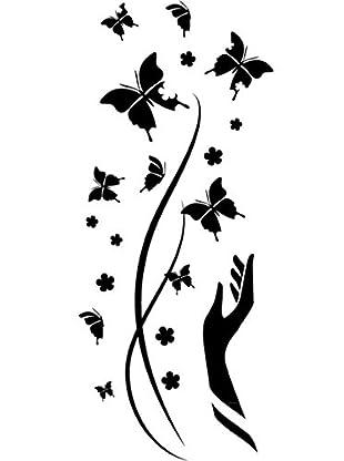 Ambiance Live Wandtattoo Butterflies for freedom schwarz