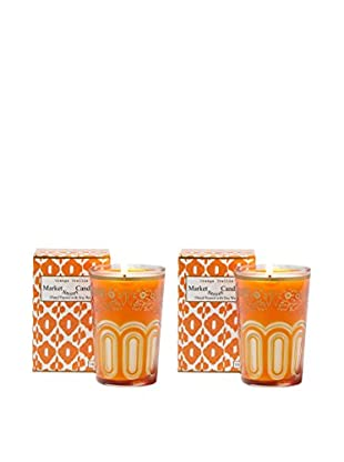Market Street Candles Set of 2 Fig Scented Moroccan Trellis Candles, Orange