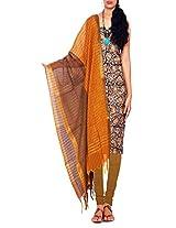Unnati Silks Women Pure Handloom Kalakmari Mangalgiri Cotton Black and Green Salwar Kameez