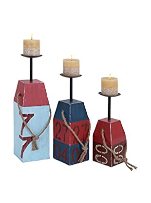 Set of 3 Wood Beach Candle Holders