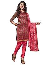Viva N Diva Brown Color Chanderi Cotton Suit.