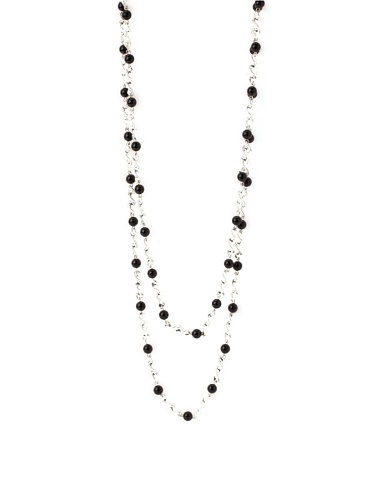 Tuleste Market Spiral Bead Necklace, Silver/Black