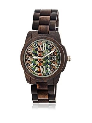 Earth Reloj con movimiento cuarzo japonés Unisex Heartwood Ethew1506 Marrón Oscuro 43 mm