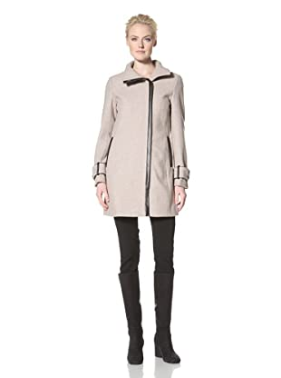 Calvin Klein Women's Wool Coat with Trim Detail (Oatmeal)