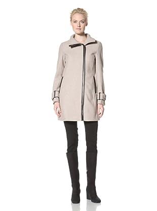 Calvin Klein Women's Wool Coat with Trim Detail (Oatmeal)