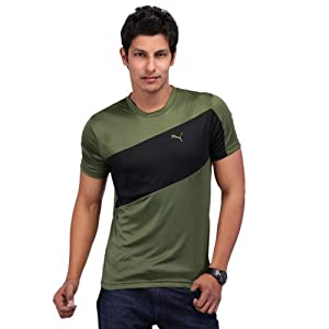 Puma Men's Non-Collared T-Shirt-Black