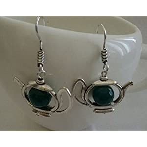 The Desi Soul German Silver Teapot With Green Agates Earring