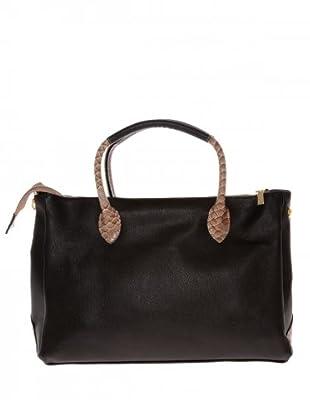 Elysa Tote-Bag mit Reptil-Details (Schwarz)