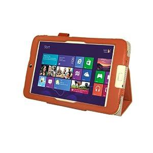 【Homu Homu】Acer Iconia W3-810専用【全10色】PUレザーケース PUレザーカバー レザーケースレザーカバースタンド機能付 ペンホルダー付 エイサー Windows 8 (オレンジ)(35-10)