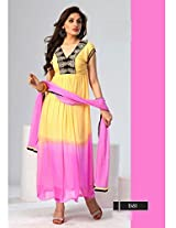 New Latest Yellow And LightPink Different Styles Designer Anarkali Suits