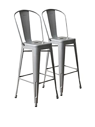 Aeon Set of 2 Garvin Barstool, Silver Powder Coated Galvanized Steel