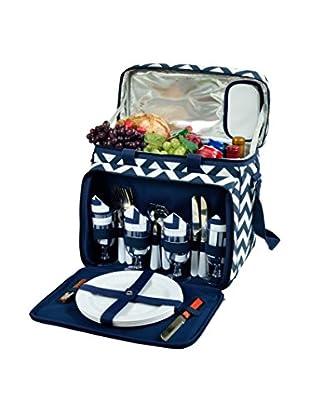 Picnic at Ascot Blue Chevron Cooler For 4, Black/Tan