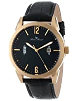Lucien Piccard Men's 11561-YG-01 Watzmann Black Dial Black Leather Watch