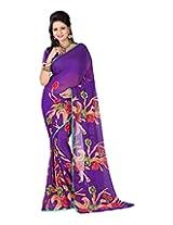 Jai Maa Ambey Creation Women's Georgette Saree (Purple)