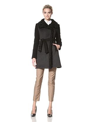 Dawn Levy Women's Sofia Wool Coat with Lamb Fur Collar (Charcoal)