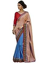 Viva N Diva Copper & Blue Color Handloom & Georgette Saree.