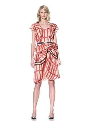 MARNI Women's Printed V-Neck Dress (Indian Red)