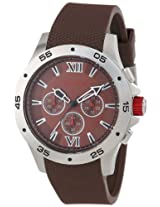 red line Men's RL-60031 Chronograph Brown Dial Brown Textured Silicone Watch