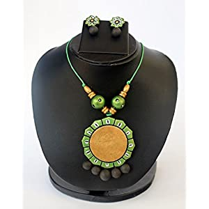 Anikalan Designs Golden Green Surya Pendant Terracotta Necklace Set