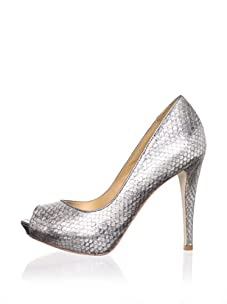 Badgley Mischka Women's Willoe Peep-Toe Pump (Pewter Snake)
