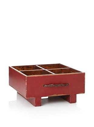 Antique Revival Rustic Milk Crate (Red)
