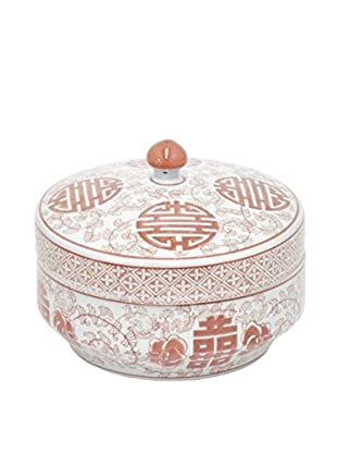 Three Hands Short Red/White Lidded Ceramic Jar
