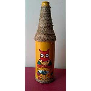 Artiliciously Your'S Owl3 Painting On Recycled Glass Bottle