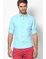 Aqua Blue Solid Casual Shirt John Players