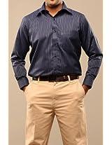 Swank Navy Blue Stripes Cotton Shirt