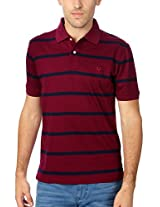 Allen Solly Classic Maroon Striped Cotton T Shirt