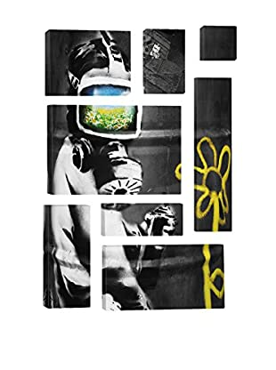 Banksy Sunflower Field Gas Mask Girl Black And White 8-Piece Giclée On Canvas