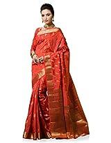 Meghdoot Artificial Silk Saree (VIVAAH_MT1244_PEACH Woven Peach Colour Sari)