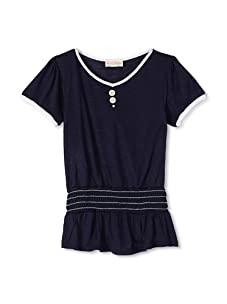 Upper School Girl's Shirred Knit Top (Navy)