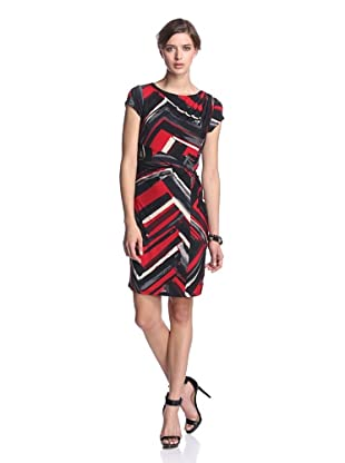 Ellen Tracy Women's Cap Sleeve Print Dress (Red Black)