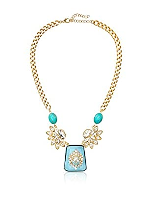 Bijou Turqouise, Crystal Necklace with Large Blue and Crystal Pendant