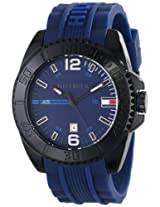 Tommy Hilfiger Men's 1791040 Black Resin Watch with Blue Silicone Band