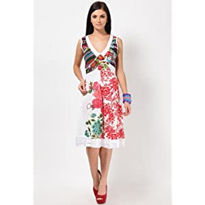 Sleeveless Printed Floral Cotton Polyester Dress