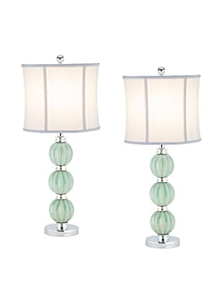 Safavieh Stephanie Green Globe Lamp, Set Of 2, Silver Neck And Base With White Linen Shade