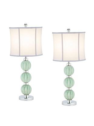 Safavieh Set of 2 Stephanie Green Globe Table Lamps